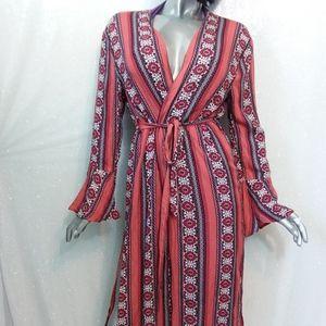 Small Wrap Kimono Multicolor Floral Boho Full Leng